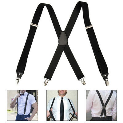 Men's Clip-on Nylon X-Shaped Heavy Duty Industrial Thick Suspenders Back and Bow