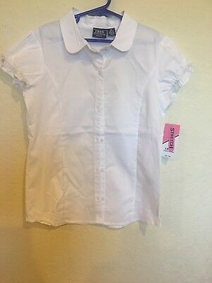 Izod Girls Uniform White Shirt Button down Ribbon Collar NWT $22