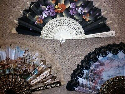 3 Vintage Including  Hand Painted Fans Good Condition