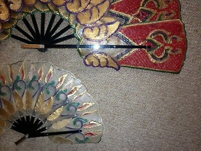 2 Vintage Traditional Indonesian Parchment Fans Good Condition
