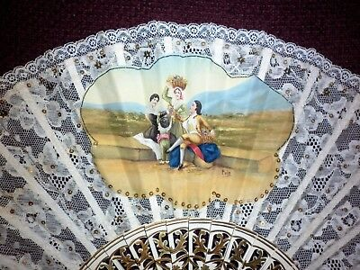 Vintage Hand Painted Lace And Sequin Fan Good Condition