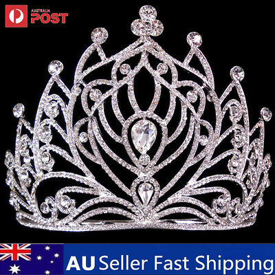 11.5cm High Full Crystal Wedding Bridal Party Pageant Prom Tiara Hair Comb Crown