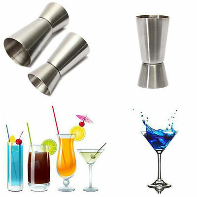 Steel Jigger Single Double Shot Shorts Drink Spirit Measure Cup Cocktail Measure