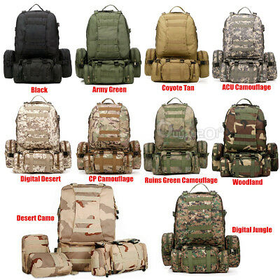 55L  600D Nylon Molle Military Camping Tactical Outdoor Rucksacks Backpack Bag