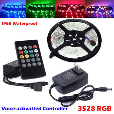 5M  3528 RGB LED Strip Lights Tape +20key Music IR Remote + Power Adapter Kit