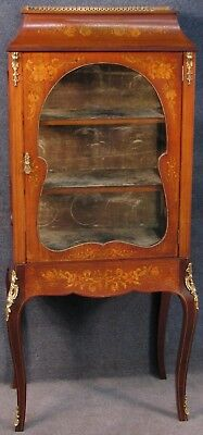 Edwardian Marquetry Inlaid Mahogany Display Cabinet With Ormolu Mounts