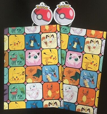 POKEMON 2 Sheets and 2 Tags GIFT WRAP WRAPPING PAPER  Free Post
