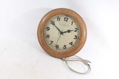 Beautiful Old Wall Clock from Junghans with Cable Synchron Watch Wood