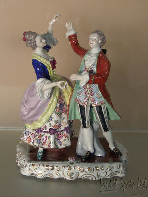"""Ernest Bohne Germany 9 1/4"""" Dancing Couple in Period Dress Figurine"""