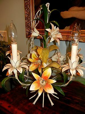 Vintage Shabby Chic French Country Large Floral  Italian Tole Chandelier
