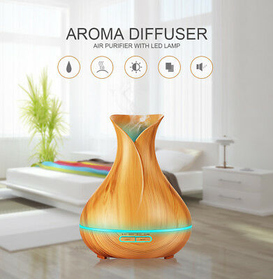 400ml Aroma Essential Oil Ultrasonic Air Humidifier with Wood Grain