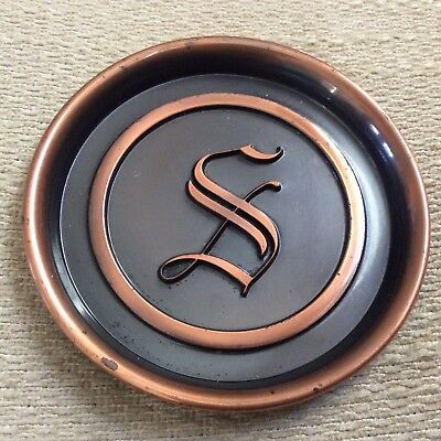 Vtg Hyde Park Coaster Monogram S Copper Brown Two Tone Round Circle MCM 1950-60