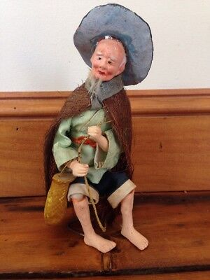 Vintage Japanese Chinese Asian Opera Old Man Fisherman Decorative Figurine Doll
