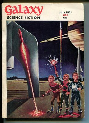 Galaxy Science Fiction 7/1951-sci-fi pulp-MacDonald-fireworks-Fritz Leiber-FN