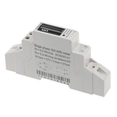 20 30 32A Single Phase Power kWh Electricity Energy Sub Meter DIN Rail Mount