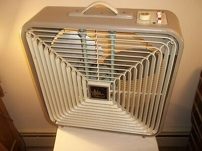 Vtg LAKEWOOD 3 SPEED REVERSIBLE THERMO-CONTROL PORTABLE BOX WINDOW FAN Strong