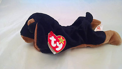 "Ty Original Beanie Baby ""Doby"" the Dog October 9 1996 NEW MINT Retired MWMT"