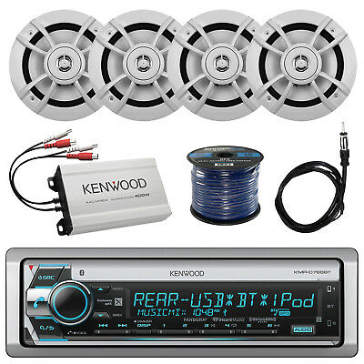 "Kenwood CD Receiver w/ Bluetooth, 4x 6.5"" Speaker, Amp, 50Ft 16G Wire, Antenna"