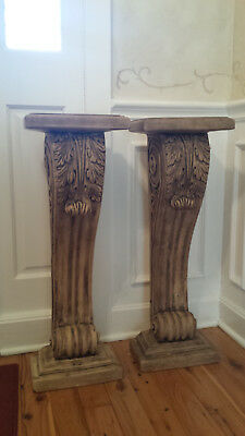 2  FRENCH Looking marble columns that are made from cast cement and weigh 37.2