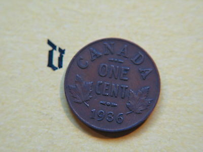 1936 Canada Canadian Small 1c (One) Cent Coin,  Penny