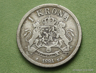 1884 1 Krona Sweden Low Mint Circulated 80% Silver  World Coin  #tdq70