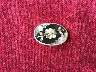 Vintage handmade brooch 1980s Alpaca Ethic Abalone Shell Oval Floral