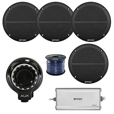 "Hifonics Bluetooth Controller, 4x 2-Way 6.5"" 250W Marine Speakers, 4-Ch Amp,Wire"