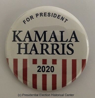 For President Kamala Harris 2020 Red and White Campaign Button (HARRIS-703)