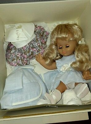 Vintage Les Creations Jaune #32280 With Wardrobe, Blonde Doll And Three Outfits
