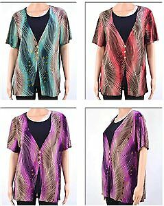 Women's Peacock Feather Twofer Tops - Sizes M-2XL Case Pack 72 (2279313)