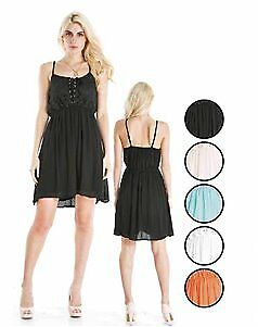 Women's Lace-up Front Rayon Short Dresses Case Pack 72 (2280677)