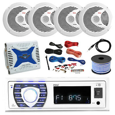 Receiver, 4x 6.5'' Speakers, Amp, Amp Install Kit, 18G 50 FT Wire, Antenna