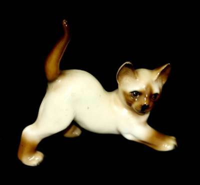 Vintage playful stretching Siamese cat kitten figurine ornament  CUTE!