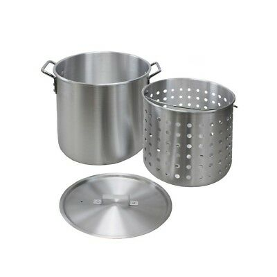 Aluminum Stock Pot 60 Qt. Strainer Basket Vented Steel Cover Lid Stockpot