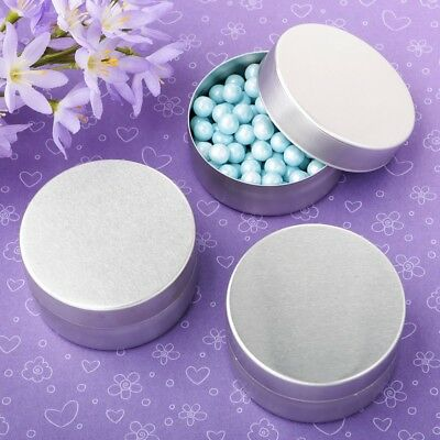 120 Brushed Silver Mint Tin Candy Box Wedding Bridal Baby Shower Party Favors