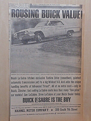 1962 newspaper ad for Buick - LeSabre with Advanced Thrust, Turbine Drive