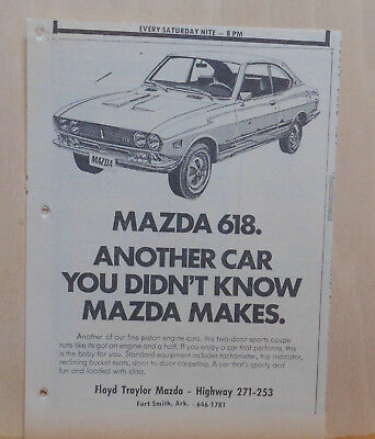 Vintage 1972 newspaper ad  for Mazda 618 - If you enjoy a car that performs