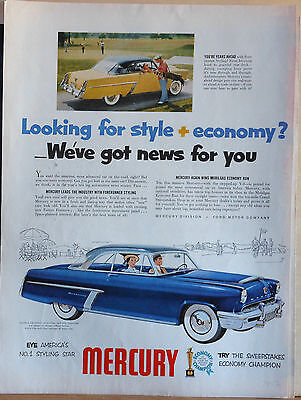 Vintage 1952 magazine ad for Mercury - Looking for Style + Economy? News for You