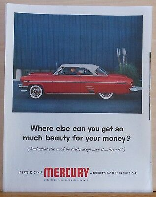 Vintage 1954 magazine ad for Mercury - So much beauty for the money, colorful