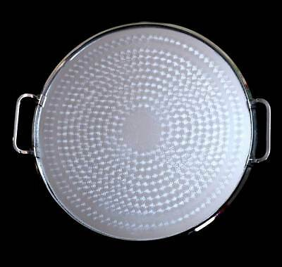 Vintage Ranleigh machine age etched circles round tray with handles 35cm