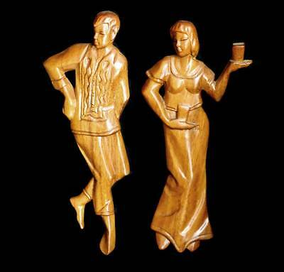 Vintage pair of carved wooden dancer plaques 23cm tall