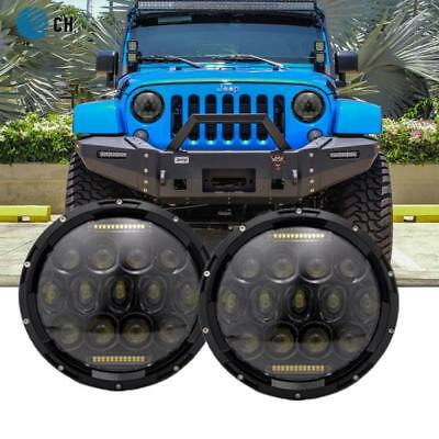 2PCS 7 Inch 75W Hi/Lo H4 LED Headlight DRL Lamp For Jeep Wrangler JK YJ TJ CJ