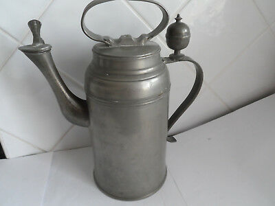 Antique Pewter C 1820 Large German Kettle Touchmarks 3 Tower & Gate For Hamburg