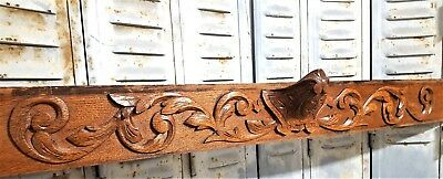 "Carved Wood Pediment 45"" Antique French Coat Of Arms Architectural Salvage Crest"