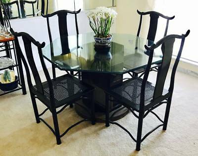 Antique Glass Top Black Wood Asian Themed Dining Room Table