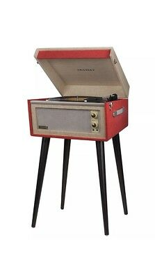 Crosley Dansette Bermuda 2 Speed Freestanding Portable Turntable with Stand, Red