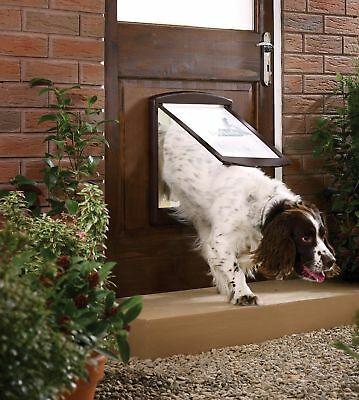 Large Dog Flap Extra Large Brown 2 Way Door Gate Entrance Lockable Wall Exit