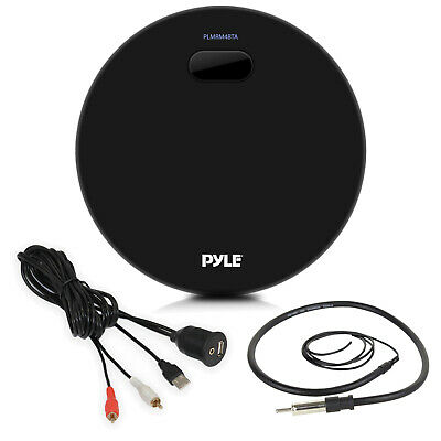 Pyle Black Marine Round AM FM Bluetooth USB Radio, Antenna, Auxiliary Interface