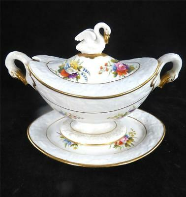 C1815 SPODE SAUCE TUREEN & STAND EMBOSSED DOLPHIN BORDER FLOWERS SWAN FINIAL b