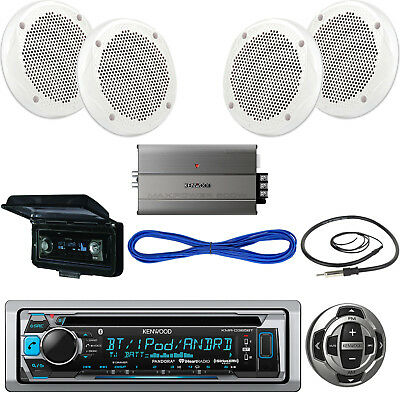 "Kenwood USB CD Bluetooth Boat Radio,Remote,6.5"" Speakers/Wires,Amp,Antenna,Cover"